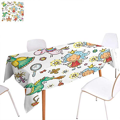 familytaste Fairy Washable Tablecloth Cartoon Princess Pattern with Magic Wand Dragon Dress Unicorn and Crown Little Child Waterproof Tablecloths 70
