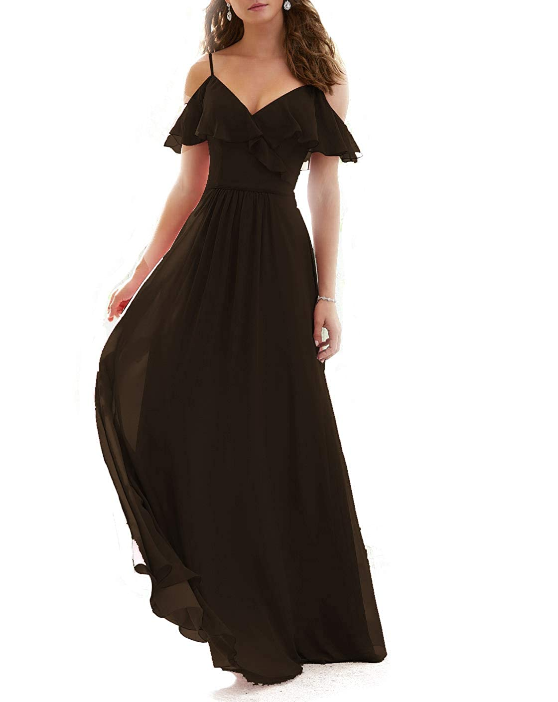 Chocolate Stylefun Ruffled VNeckline Bridesmaid Gowns Spaghetti Straps Long Prom Party Dress for Women's KN003