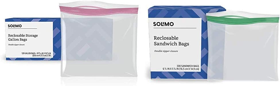 Amazon Brand - Solimo Gallon Food Storage Bags, 120 Count & Sandwich Storage Bags, 300 Count
