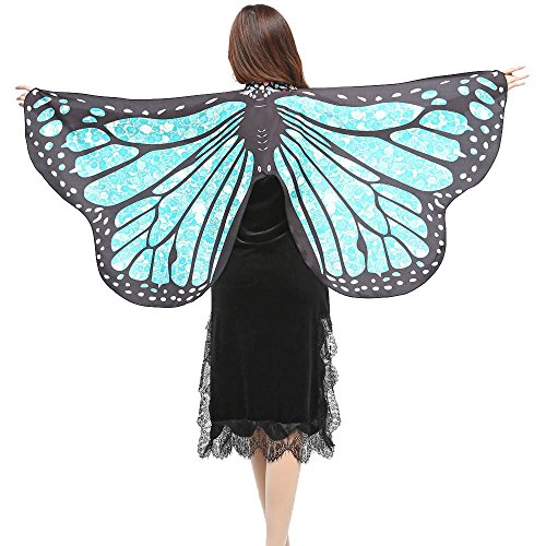FarJing Women Shawl Scarves Ladies Butterfly Wings Nymph Pixie Poncho Costume Accessory(Light Blue) for $<!--$0.99-->