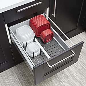 Umbra Peggy Kitchen Cupboard, Shelf and Drawer Organizer Tray-Adjustable Storage System For Food Containers, Cookware…