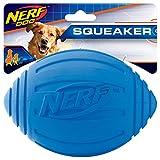 Nerf Dog Squeak Ridged Rubber Football Dog Toy, Medium/Large, Blue