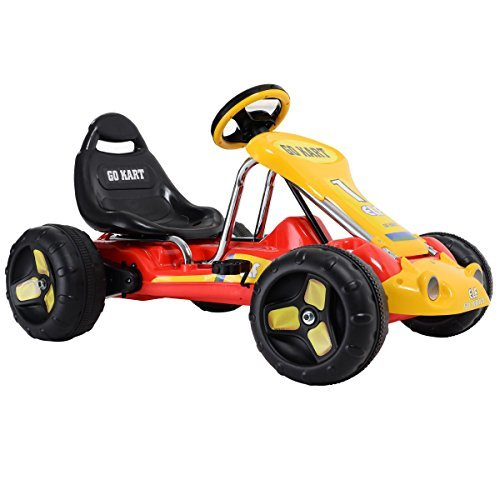 Red Powered Go Kart 4 Wheel Kids Racer Ride on Car Stealth Pedal Toy Outdoor New