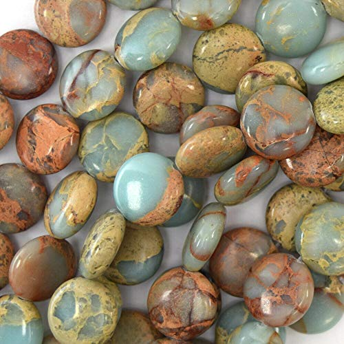 - 12mm Brown Blue sea Sediment Jasper Coin Beads 16