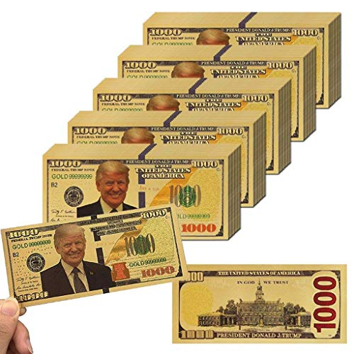 Lwesting 50 Pieces US 1000 Dollars Trump Gold Foil Banknote Paper Gold Commemorative Banknote