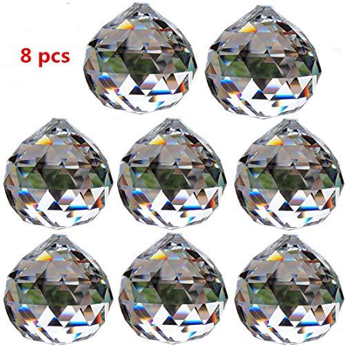 Yoker 40mm Clear Crystal Ball Prisms Pendant Feng Shui Suncatcher Decorating Hanging Faceted Prism Balls (Pack of 8)