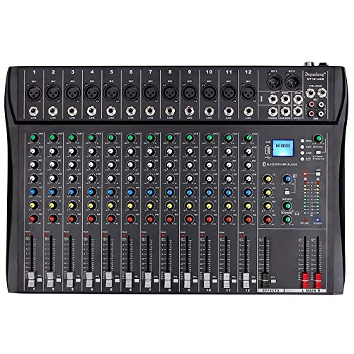 Depusheng Professional 12 Channel Bluetooth DJ Mixing Console Karaoke Amplifier Digital KTV Sound Mixer with USB for Computer Recording, Bands