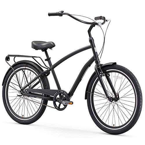 - sixthreezero EVRYjourney Men's 3-Speed Hybrid Cruiser Bicycle, Matte Black w/Black Seat/Grips, 26