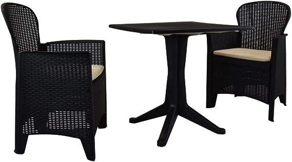 Festnight Muebles de Jardín de Mesa y Sillas para 2 Personas Plástico Gris Antracita 3 Piezas 70 x 70 x 71,7 cm, Muebles Jardin Exterior: Amazon.es: Hogar