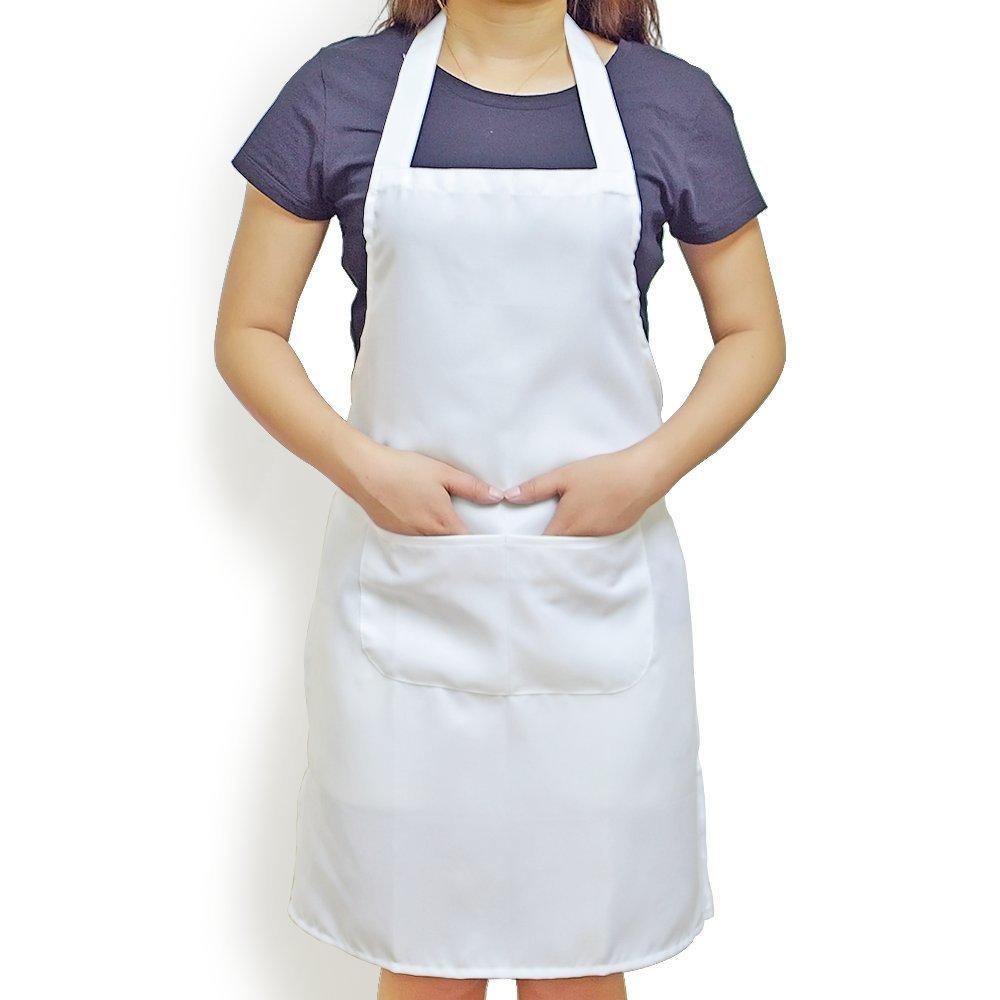 Elimit Professional Bib Apron 2 Piece Kitchen Cooking Craft Baking Apron With Front Pocket (2, White)