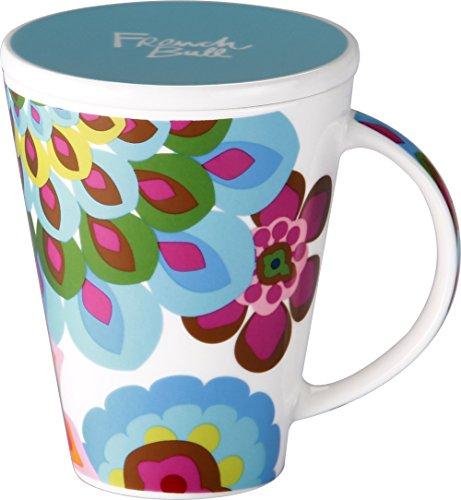 French Bull - Porcelain Mug with Lid - V Mug - Large Mug for Coffee or Tea - Gala