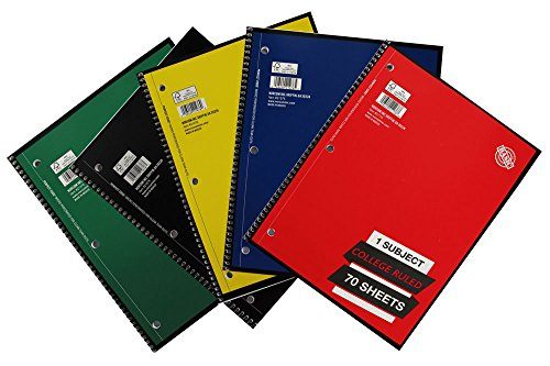 1 Subject College Ruled Spiral Notebook Solid Colors Perforated Edge 70 Sheet Pack of 5 - Edge Spiral