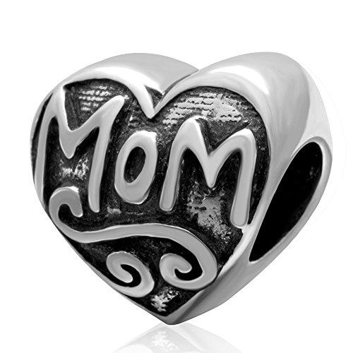 I Love Mom Charm 925 Sterling Silver Heart - Pandora Charm 925 Sterling Silver