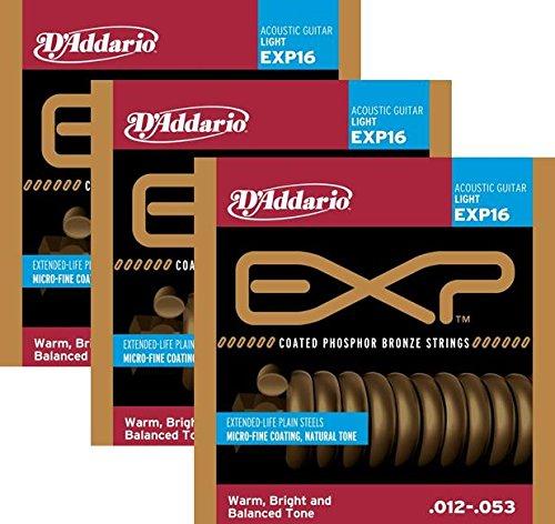 D'Addario Guitar Strings | 3 Pack | EXP16 | Acoustic | Light | Coated