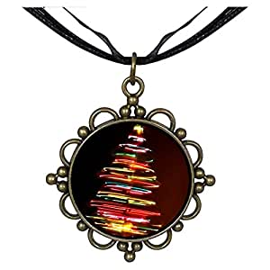 Chicforest Bronze Retro Style christmas tree Round Flower Pendant