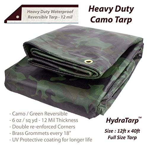 Heavy Duty Waterproof Camo Tarp - Reversible Camouflage / Green vinyl Tarp -12x40 with UV protection for outdoor camping RV Truck and trailers