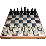 """16""""x16″ Indian Stone Chess Game Board Set + Hand Crafted Stone Pieces"""