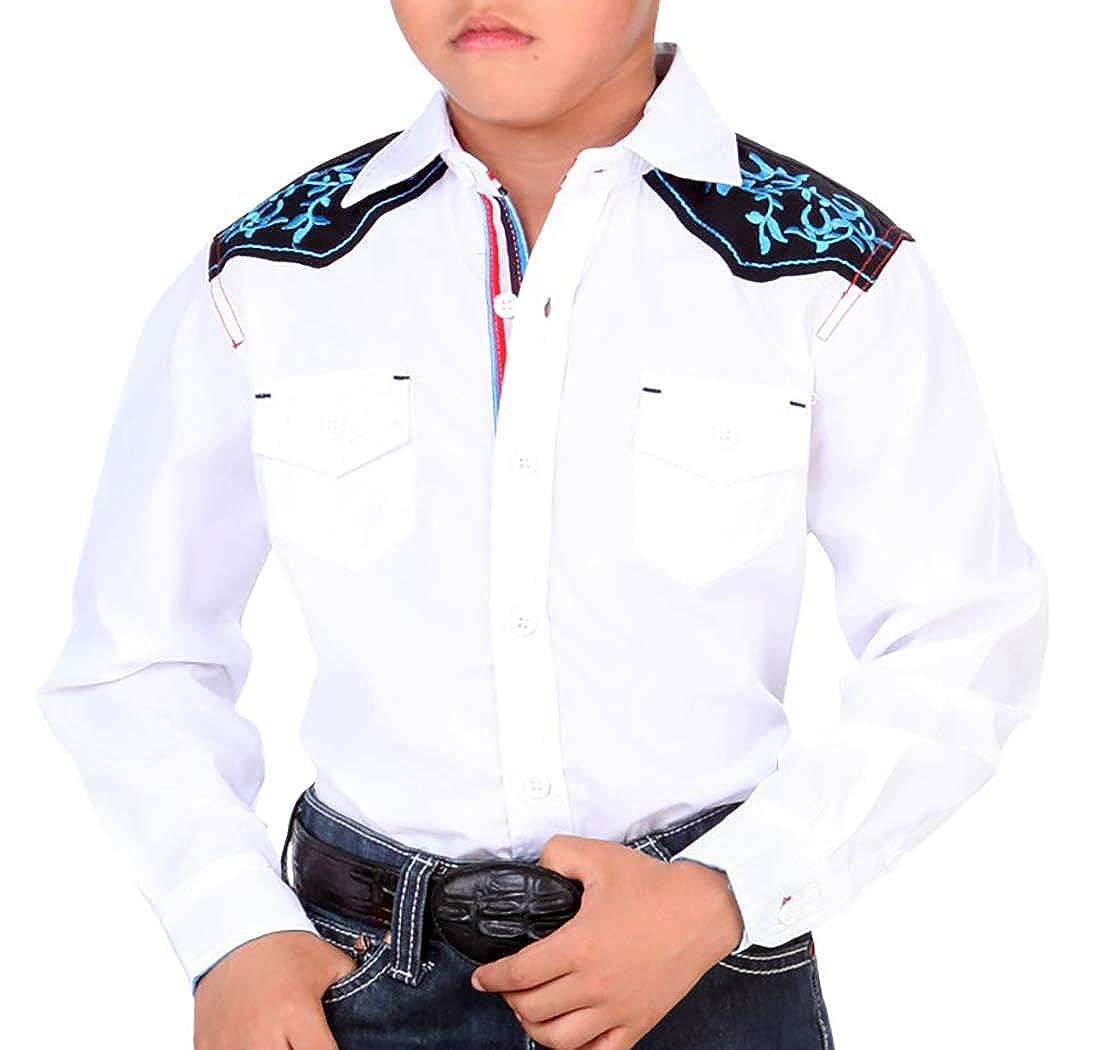 El General Boys Casual Shirt Western Wear Camisa Casual Ni/ño Color White
