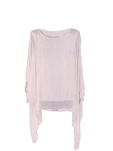 605c0d508a9cc LushStyleUK New Ladies Italian Plain Batwing Silk Tunic Top Women Lagenlook  Top Plus Sizes (Beige)  Amazon.co.uk  Clothing