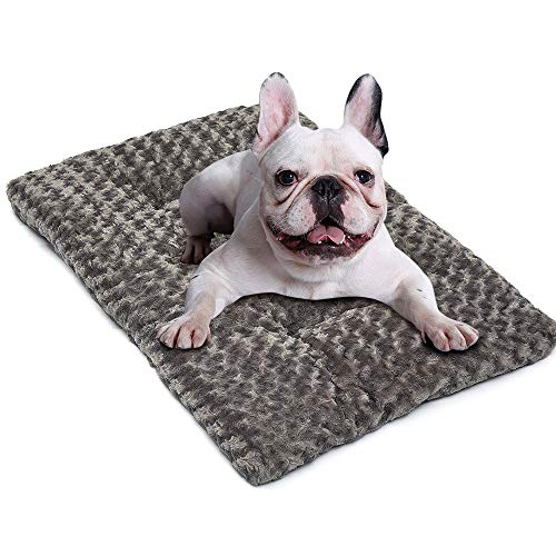 Auboa Deluxe Cat Dog Bed - Plush Pet Beds Ideal for Crate Kennel Cage House - Durable & Washable Cushion Mattress for Sleeping(LightGrey-XL)