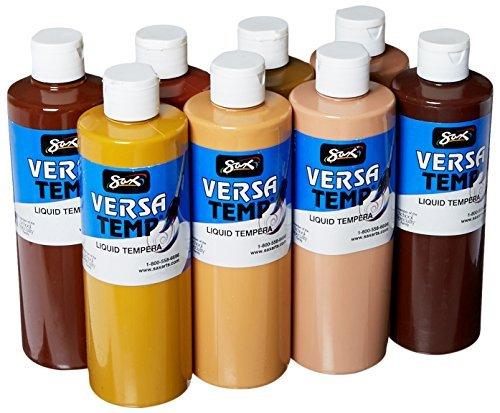 Sax 1440732 Versatemp Tempera Paint Set, 1 pint Plastic Bottle, Assorted Multi-Cultural Color (Pack of 8) by Sax ()
