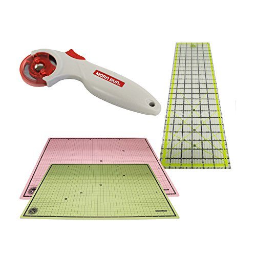 Think Crucial Durable 24x18 Self Healing Reversible Cutting Mat, 6x24 Inch Acrylic Cutting Ruler & 45mm Contour Rotary Cutter by Think Crucial