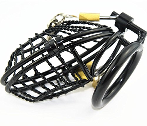Duzzy Stainless Male Men Padlock Chastity Belt Cage Device Men Bondage Fetish 66 (50mm Ring) by Duzzy