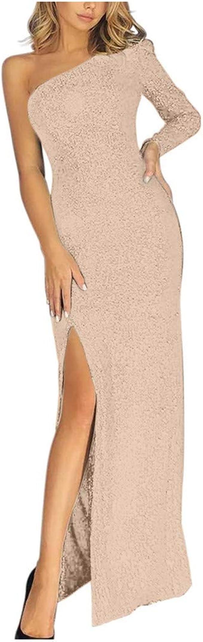 LOPILY Abendkleid Damen Glitzerkleid Eng mit Gehschlitz Elegante