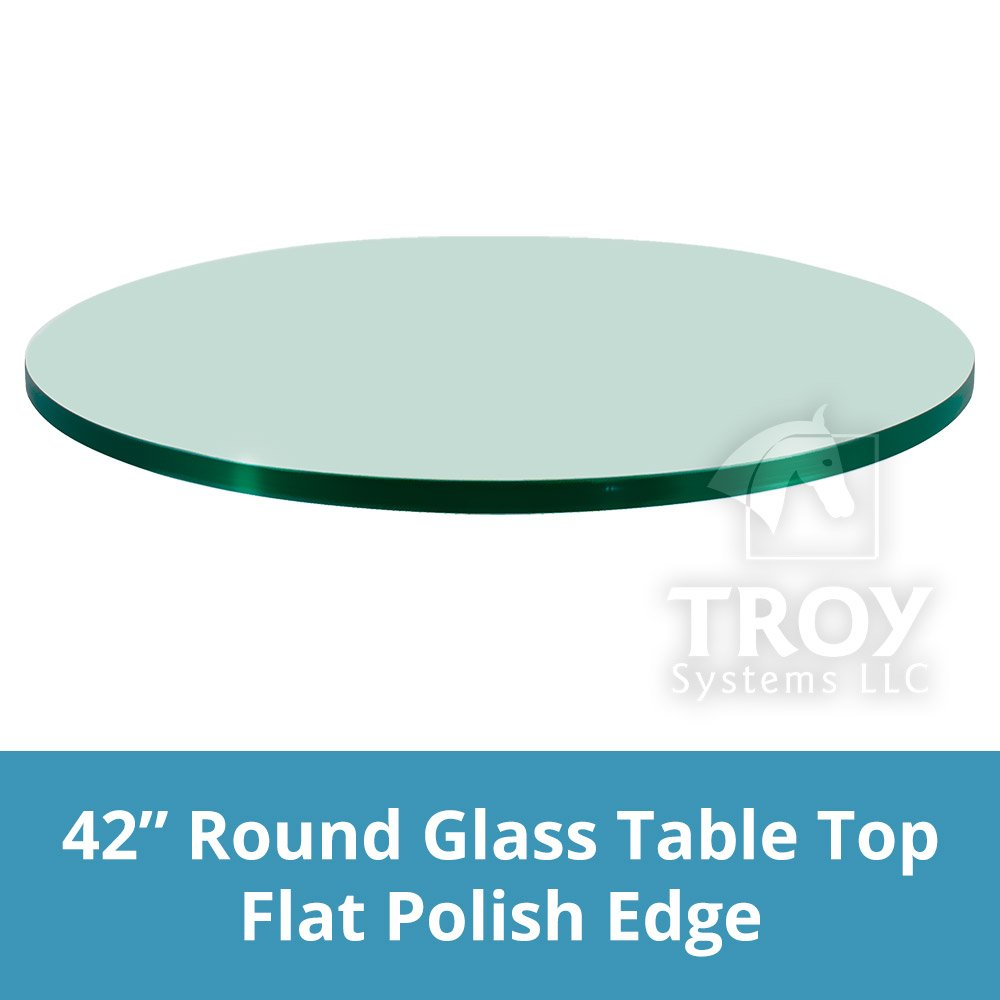 TroySys 42'' Round 1/4 Inch Thick Flat Polised Tempered Glass Table Top