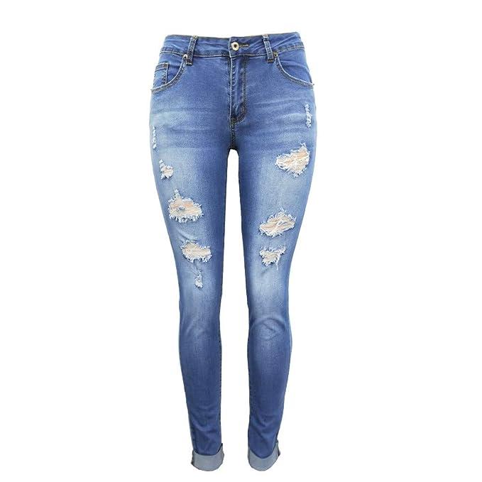 Pantalones Vaqueros Rotos Cintura Bajo para Mujer Invierno Primavera,PAOLIAN Vaqueros Elasticos Tallas Grandes Leggings Skinny Pantalones de Lápiz ...