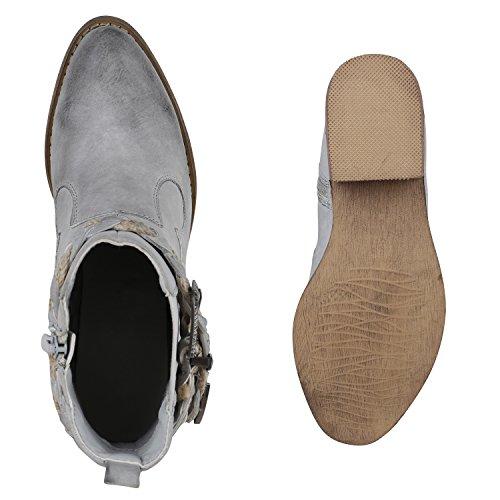 Stiefelparadies Damen Stiefeletten Cowboy Boots Western Stiefel Metallic Flandell Grau