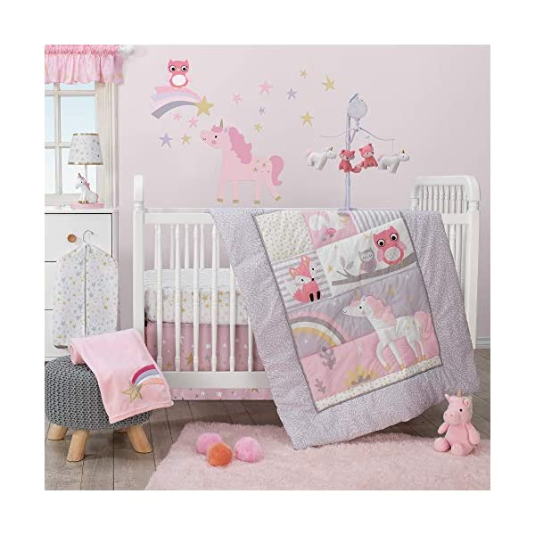 Bedtime Originals Rainbow Unicorn 3-Piece Crib Bedding Set, Purple 3