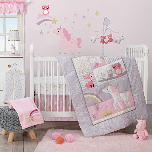 (Bedtime Originals Rainbow Unicorn 3-Piece Crib Bedding Set, Purple)