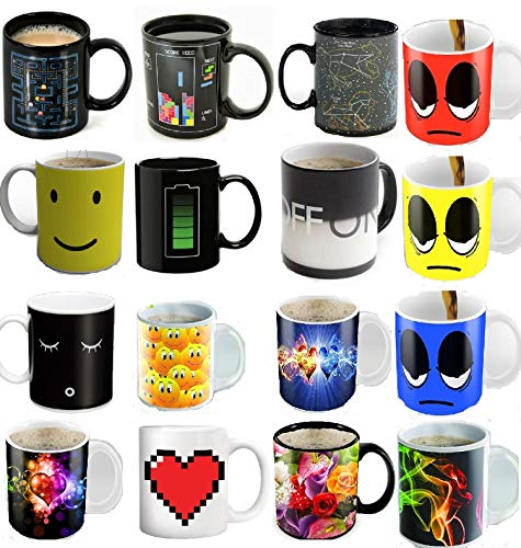 Man Pac Face (4 Ceramic Mugs - Color Changing Heat Sensitive Ceramic Cups - Best Office Cup, Annivarsary Present, Birthday Gift For Men & Women, Him or Her Gift)