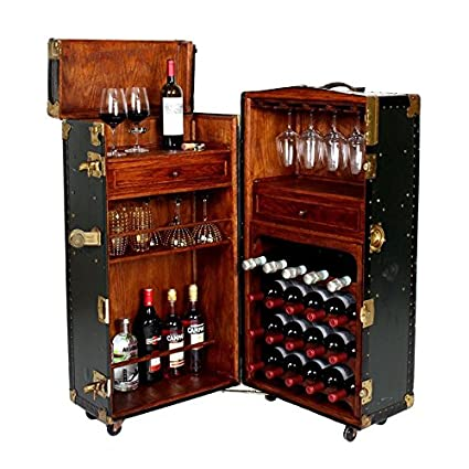 Artikle Leather & Wood Bar Cabinet