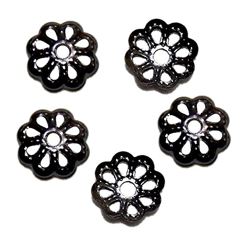 BEAD CAP DOTTED SCALLOP OR Filigree Flower 6mm PLATED BRASS FINDING 100pc (Dotted Scallop, Gunmetal)