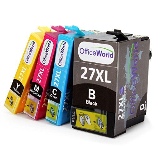 OfficeWorld Kompatibel Epson T27XL Tintenpatronen (T2711 T2712 T2713 T2714) Hohe Kapazität für Epson Workforce WF 3620 3640 7110 7610 7620, Packung mit 4