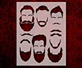 Man Face Eyebrows Beards Mustache 8.5' x 11' Stencil FAST FREE SHIPPING (565)