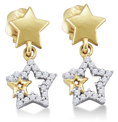 - 10K Yellow and White Two Tone Gold Channel Set Round Diamond Stars Dangle Earrings with Screw Back Closure - (1/10 cttw)