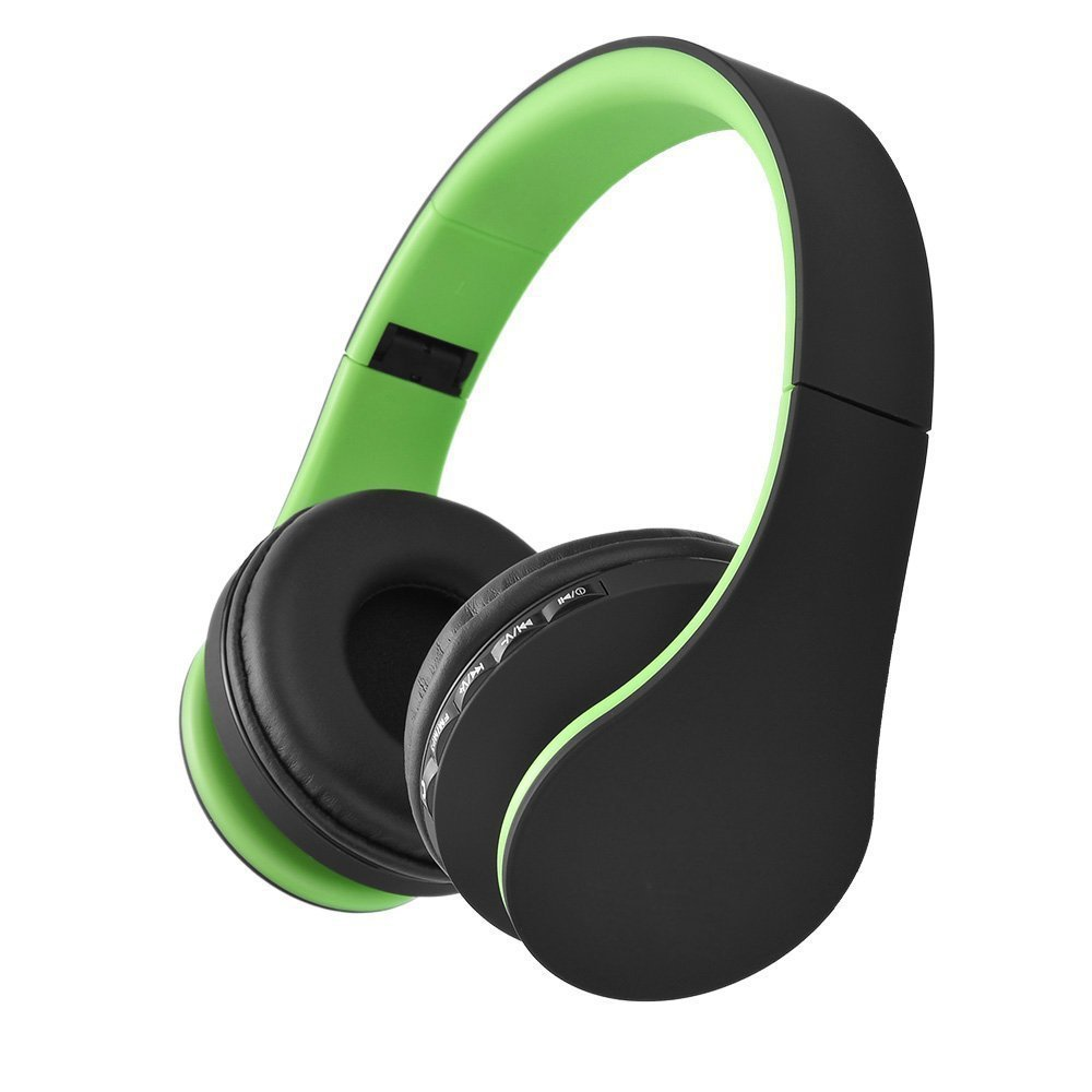 Over-Ear Wireless Headphone,WONFAST Foldable 4 in 1 Bluetooth and Wired Stereo Hands-Free Calling Headset with Microphone for iPhone Samsung,Support FM Radio,MP3 Player (Black + Green)