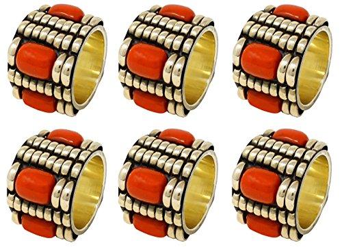 SKAVIJ Handmade Gold Napkin Rings Set of 6 Brass for Wedding Party Holiday...