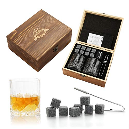 Whiskey Stones Gift Set-2 Crystal Whiskey Glasses-8 Granite Scotch Chilling Rocks with Tongs Velvet Pouch in Wooden Box-Best Present for Men Dad Husband Birthday Party Holiday (Medium)