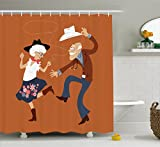 Lunarable Country Shower Curtain, Senior Old Couple with Western Costumes Dancing Partying Square Dance Contradance, Cloth Fabric Bathroom Decor Set with Hooks, 84 inches Extra Long, Multicolor