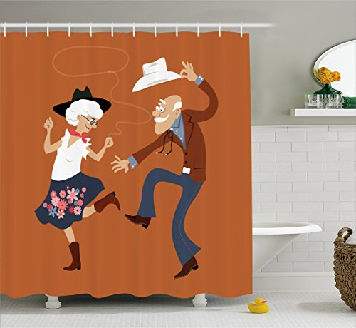 Lunarable Country Shower Curtain, Senior Old Couple with Western Costumes Dancing Partying Square Dance Contradance, Cloth Fabric Bathroom Decor Set with Hooks, 84 inches Extra Long, Multicolor by Lunarable