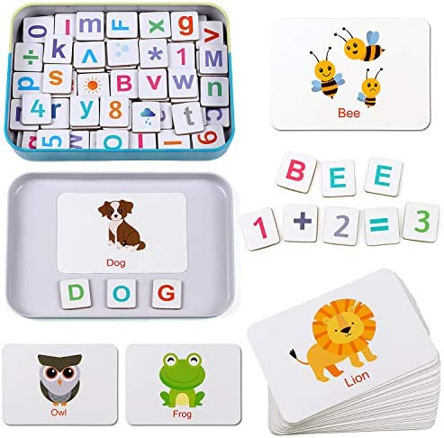 Lewo Magnetic Letters and Numbers Wooden Alphabet ABC Fridge Magnets Flash Cards Spelling Counting Game Preschool Educational Toys for 3 4 5 6 Years Old Kids Toddlers Boy Girl