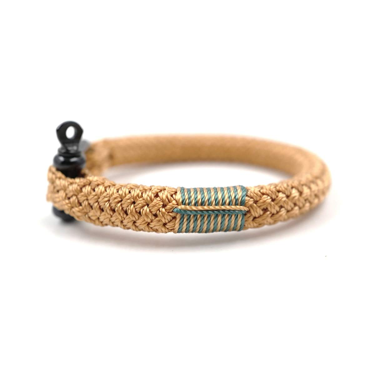 TTHER Nautical Rope Ladder - Gold Hand-Made Nautical Braided Bracelet Yachting Rope Military Paracord Bracelet Wristband with D-Shackle by TTHER