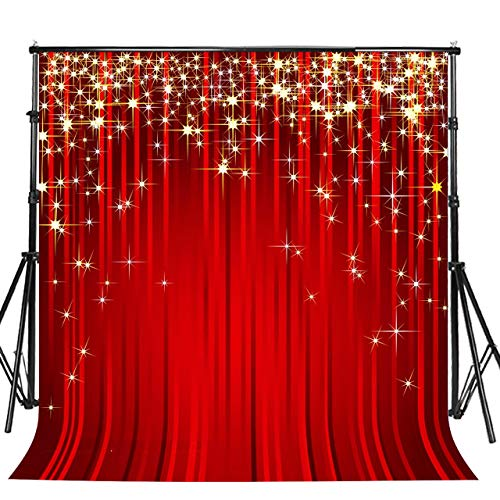 - Sensfun 10x10ft Golden Starry Backdrop for Portrait Photography Gold Shooting Star Red Stripe Background Photobooth Banner Christmas Holiday Birthday Party Photo Studio Props(WP019/10x10ft)
