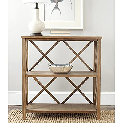 """Safavieh American Homes Collection Liam Oak 2-Tier Open Bookcase - The oak finish of this bookcase will create a perfect accent to your home This bookcase features 3 shelves, measuring 31.89"""" x 12.6"""" x 14.17"""" Crafted of solid elm wood - living-room-furniture, living-room, bookcases-bookshelves - 51gz76Wfz9L. SS400  -"""