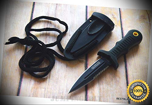 BLACK MINI BOOT SHARP KNIFE WITH KYDEX SHEATH & LANYARD PARACORD - Premium Quality Hunting Very Sharp EMT EDC