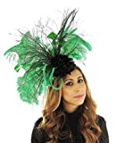 Hats By Cressida Ladies Wedding Races Ascot Derby Fascinator Headband Peacock Jade Green Black